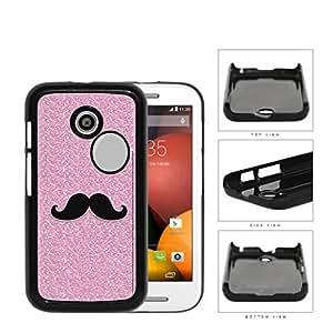 Pink Glitter Mustache Trend Hard Plastic Snap On Cell Phone Case Motorola Moto E