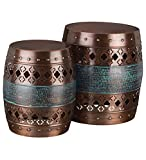 Copper and Patina Glazed Metal Indoor Outdoor Stools / Ottoman / Tables (Set of 2