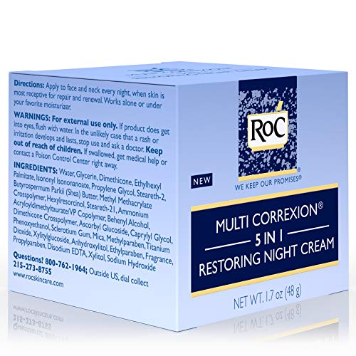 51MowMz c5L - RoC Multi Correxion 5 in 1 Restoring Anti-Aging Facial Night Cream, Wrinkle Treatment for Face & Neck Made with Hexinol Technology, 1.7 oz