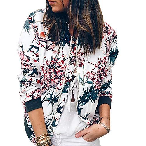 PRETTYGARDEN Womens Long Sleeve Zip up Floral Printed Classic Baseball Biker Bomber Jacket Short Coat