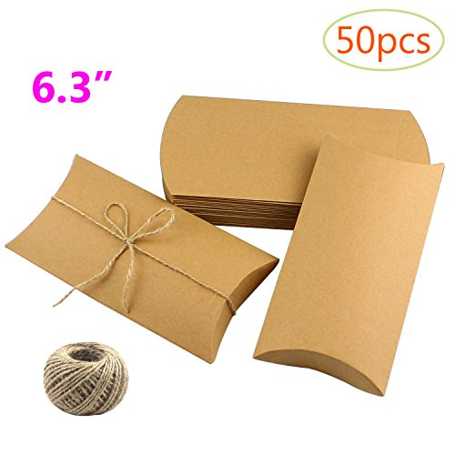 CEWOR 50pcs Kraft Pillow Box 6.3'' Candy Favor Paper Boxes for Wedding Party + 30m Jute Twines (yellow) by CEWOR