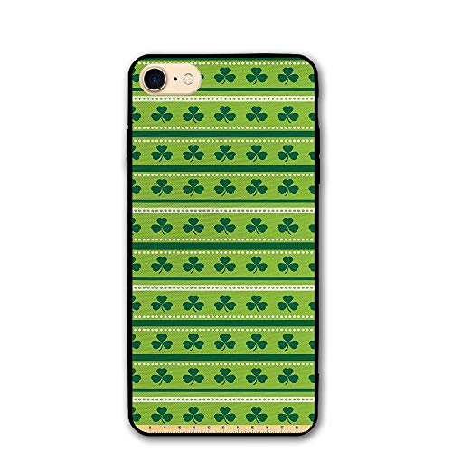 Haixia iPhone 7/8 Shell 4.7 Inch Green by The Yard Traditional Irish Pattern with Clovers Happy St. Patricks Day Theme Lime Green Dark Green White
