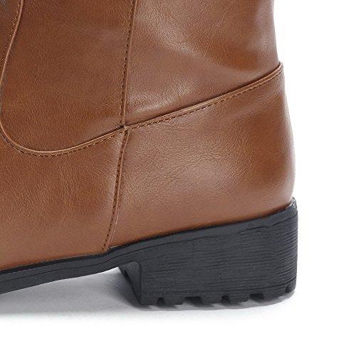 AllhqFashion Mujeres Sólido Pu Mini Tacón Velcro Puntera Redonda Botas Marrón