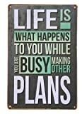 Life is What Happiness Metal Sign Tin Signs Retro Shabby Wall Plaque Metal Poster Plate 20x30cm Wall Art Coffee Shop Pub Bar Home Hotel Decor