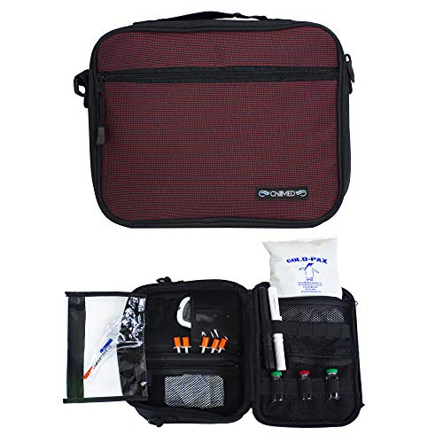 "ChillMED Premier Diabetic Organizer Travel Bag with One 24 oz Cold Pack - 11"" x 9"" x 3"" (Burgundy)"