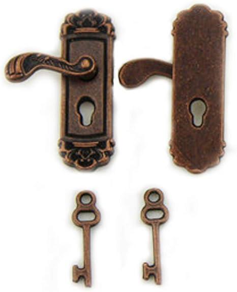 mxdmai 2ST Empfindliche Puppen Miniatur-T/ürschloss Fancy Mini Puppenhaus T/ürgriffe Vivid Toy Modell mit Langen T/ürgriff Golden 1 Paar