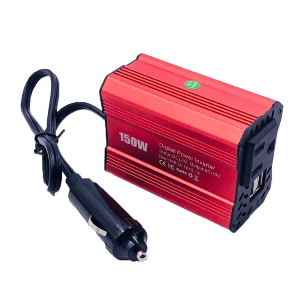 150W Power car onduleur AC voiture onduleur, Power Converter Booster avec 2.1 A Dual USB car adapte,Red