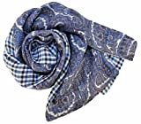 Stanley Lewis Men's Paisley & Check Blue Scarf