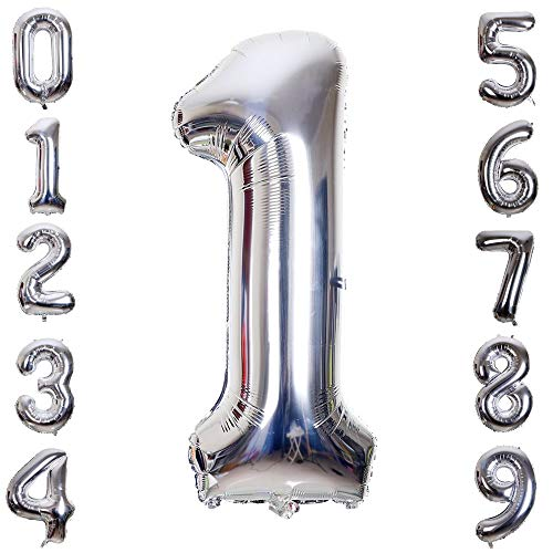 Hotshots2019 40 Inch Large Silver Balloon Number 1 Balloon Helium Foil Mylar Balloons Party Festival Decorations Birthday Anniversary Party Supplies -