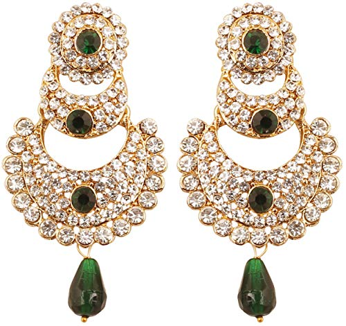 (Touchstone Indian Bollywood White Crystals and Green Faux Emerald Chand Bali Moon Designer Jewelry Chandelier Earrings for Women in Antique Gold Tone.)