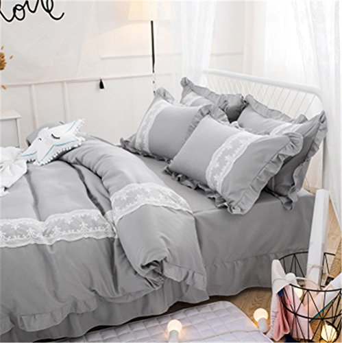Lotus Karen Lotus Karen Sweet Ruffles Korean Bedding Set CP013 2017 High Qaulity Decorative Lace Solid Color Gray 4PC Duvet Cover Set for Girls Including 1Duvet Cover,1Flat Sheet,2Pillowcases price tips cheap