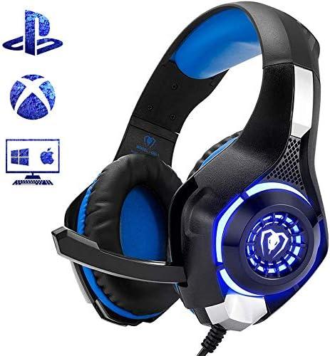 PS4 PC Xbox One用マイク付きプレミアムステレオゲーミングヘッドセット、ベースサラウンドキャンセル機能付きゲーミングヘルメット、パッド付き調整可能ヘッドバンド、単方向マイク
