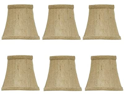 Upgradelights Set of 6 Chandelier Lamp Shades 4 Inch Sand Belgium Linen Barrel Drum