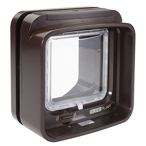 "SureFlap Microchip DualScan Cat Flap in Brown, 7.1"" L X 9.1"" W X 9.9"" H, Small"