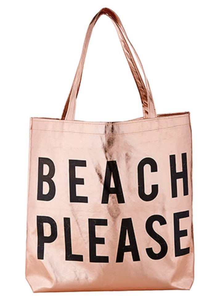 Pack of 2 Beach Please Rose Gold Tote Bags. 16'' X 14.5''.