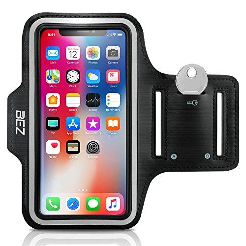 Sportarmband, BEZ®® Wasserabweisendes Sport-Armband Armtasche Hülle mit Schlüsseltasche für iPhone X - Smartphone Fitness Armband für Laufen, Wandern , Radfahren , Reiten