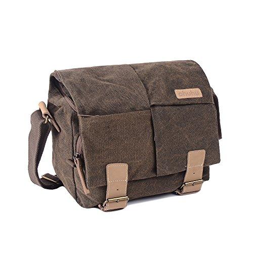 Ohuhu DSLR Camera Bag / Shoulder Bag / Digital Camera Organizer Bag / Camera Case, Water-proof Canvas Material Outside and Shock-proof Padded Liner Inside, Dark Brown