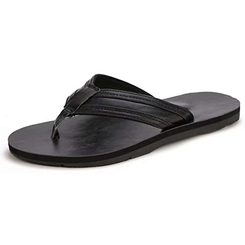 9c01dc57fb60 GUBARUN Mens Flip Flop Sandals Thong Leather Indoor and Outdoor Beach  Casual Slippers(Black 8
