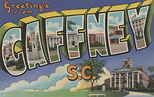 (Gaffney, South Carolina - Large Letter Scenes (24x36 SIGNED Print Master Giclee Print w/ Certificate of Authenticity - Wall Decor Travel Poster))