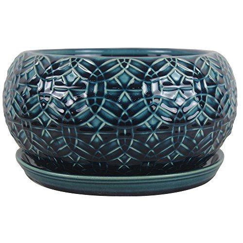 Red Flower Bowl - 10 in. Dia. Ceramic Crackle Blue Rivage Bowl