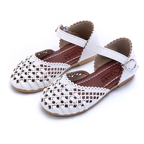 Tenworld Toddler Girls Mary Jane Flat, Baby Girl's Summer Beach Sandals (10, White)