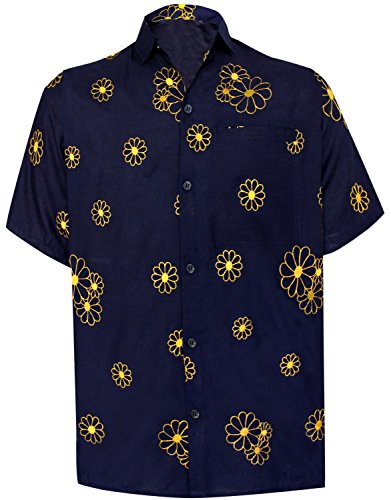 LA LEELA Rayon Embroidery Camp Party Shirt Navy Blue 6 Large | Chest 44