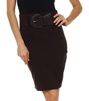 Petite High Waist Stretch Pencil Skirt with Wide Belt at Amazon ...