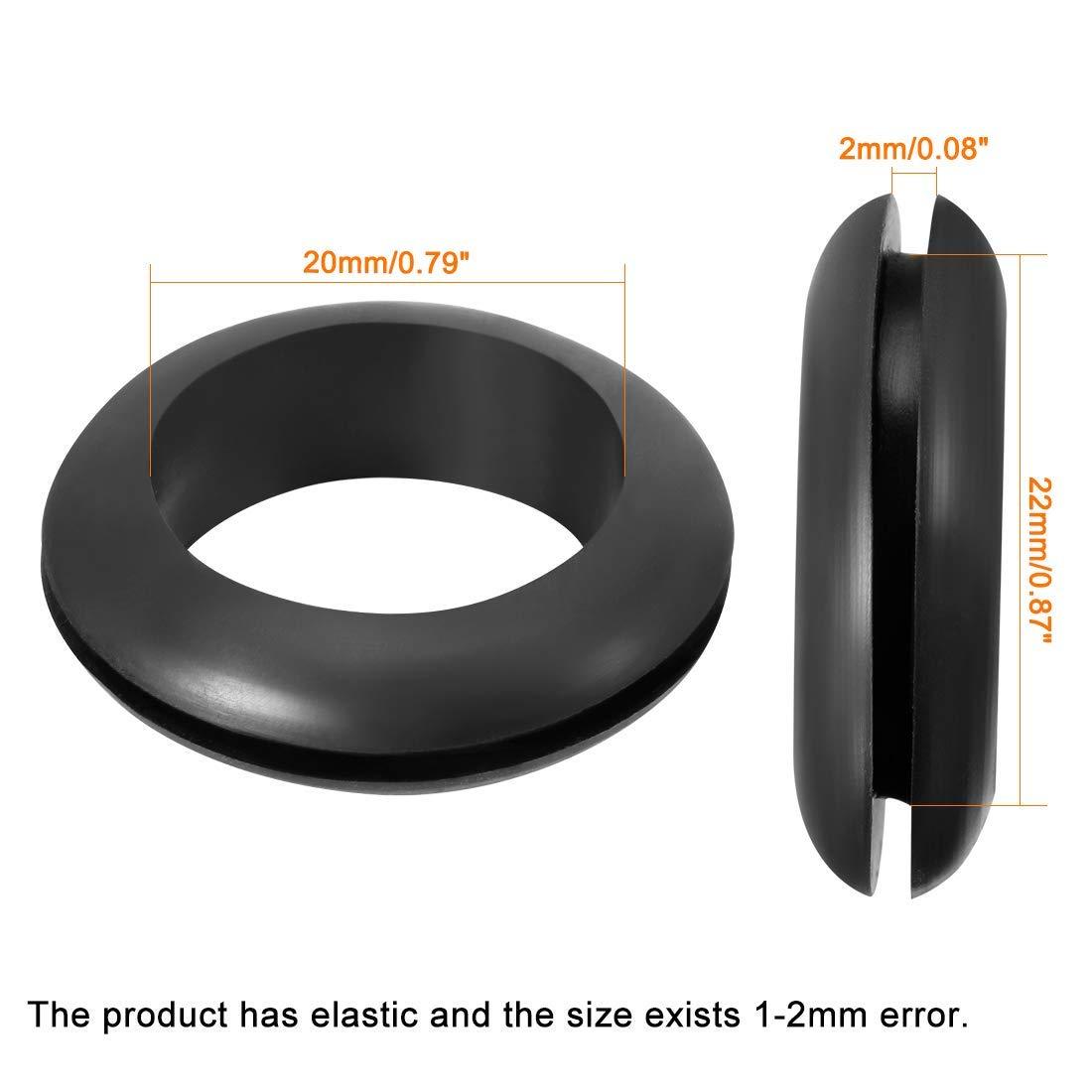 Wire Protector Oil Resistant Armature Grommet Rubber 20mm Internal Dia 100Pcs Black