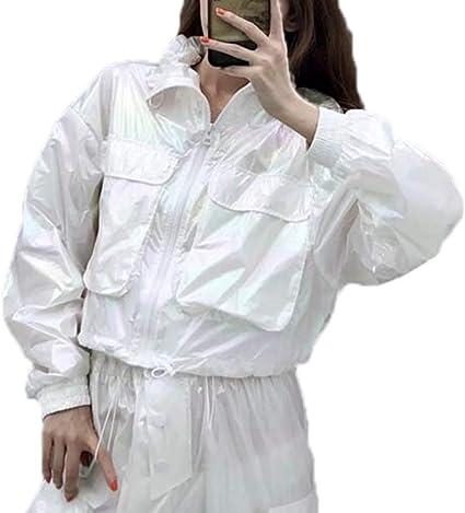Mujeres Color del Arco Iris Brillante Moda Chaquetas Cortas Frescas Camisa de protección Solar Bolsillos Grandes Abrigo Superior: Amazon.es: Ropa y accesorios