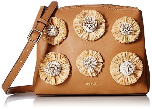 - Nine West Levona Crossbody with Floral Pom, Dark Camel Natural/Milk