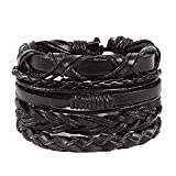 Toponly Mix 6 Wrap Braided Bracelet Vintage Hand-Woven Multi-Layer Cords Wood Beads Ethnic Leather Bracelet Jewelry Wristbands