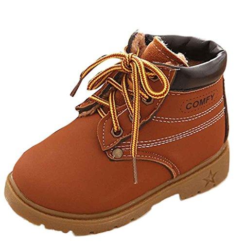 Estilo del ejército zapatos caliente, KOLY invierno Bebé Niño Marten Boots, (21, Café) Café