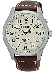 Seiko Kinetic SKA723 Beige Dial Brown Leather Band Mens Watch