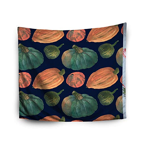 Pamime Home Decor Tapestry for Halloween Orange Greenery Pumpkins Watercolor Pattern Background Wall Tapestry Hanging Tapestries for Dorm Room Bedroom Living Room (50x60 Inches(130x150cm) -