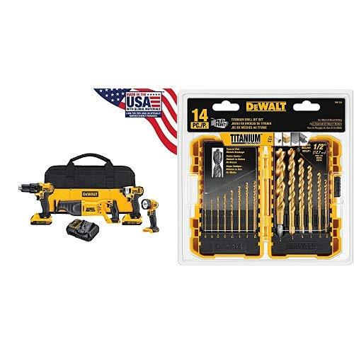 DEWALT DCK420D2 20V MAX Cordless Lithium-Ion 4-Tool Combo Kit 20V Combo Kit with DW1354 14-Piece Titanium Drill Bit Set ()
