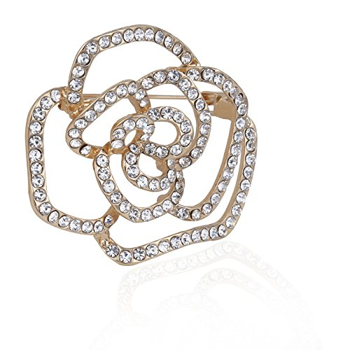 Premium Quality Brooch Fancy Rose Flower Design Golden Party-Wear Designer Alloy Brooch For Women | Bridal | Girls | Ladies For Sarees | Ethinic Wear | Scarfs Accessory Limited Edition Crystals By Jewel and You