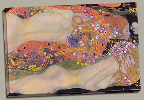 (Gango Home Decor Gustav Klimt's Water Serpents Fine Art; One 18x12in Hand-Stretched Canvas)