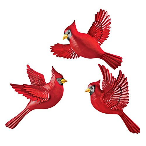 Collections Etc Christmas Cardinal Wall Decor - Set of 3