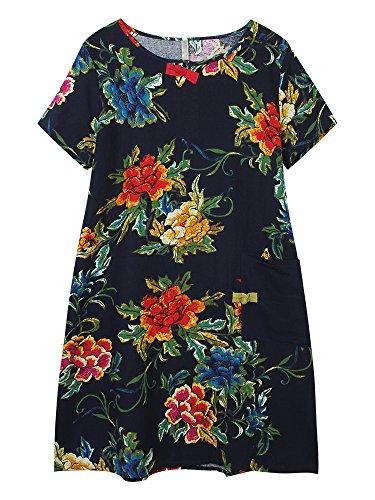 Les Femmes De Style Ethnique Poche D'impression Florale Robe En Lin Coton Patchwork Gris