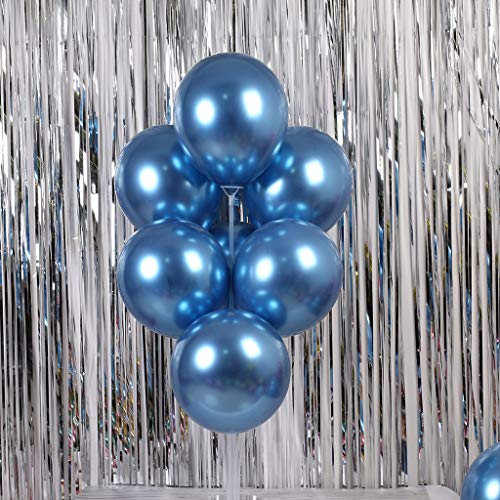 Gotian 50Pcs Chrome Shiny Metallic Latex Balloons for Birthday Wedding Grad Party ~ Perfect for Birthday Party Bridal Baby Shower Engagement Wedding Party Decor (Chrome Blue)