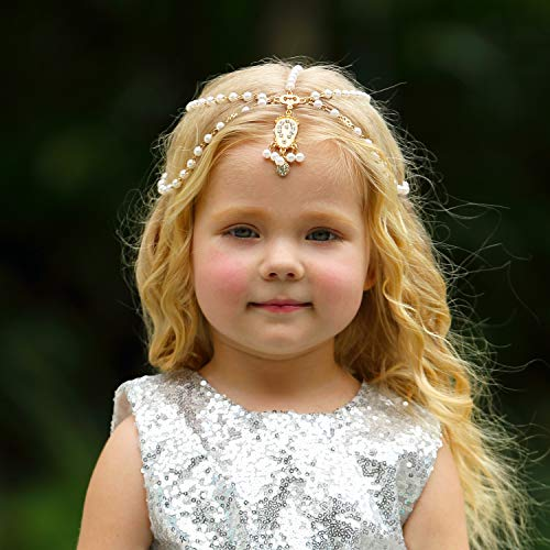 Golden Headband Princess Hair Chain For Little Girls Birthday,Wedding Party Dress Up(Style1)