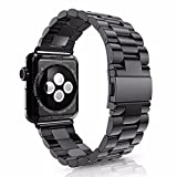 Apple Watch Band,Stainless Steel Starp Wrist Band 42MM repalcement For Apple Watch Series1,Series2 with a FREE Replace tool (Black)