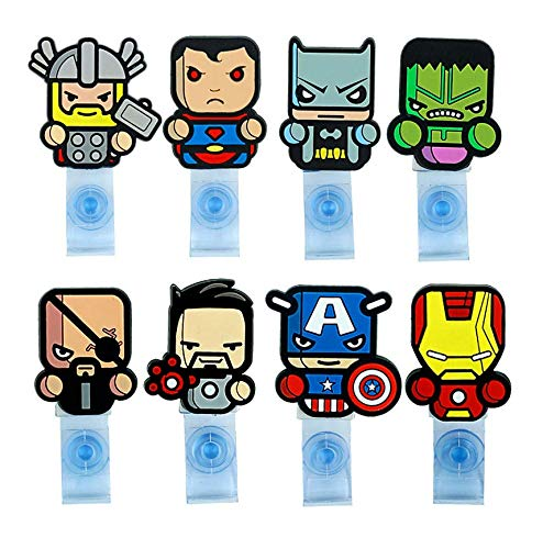 - Astra Gourmet 8pcs Cartoon Superheroes Super Hero Retractable Badge Reel - Holder for ID and Name Tag with Belt Clip