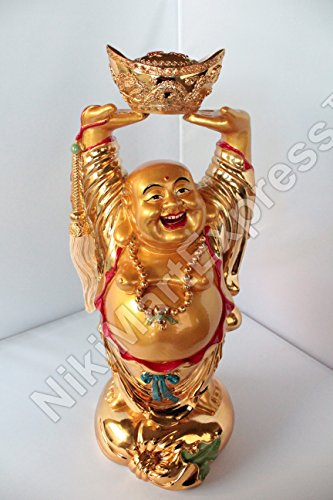 18'' Huge Golden Chinese Feng Shui Love Happiness Longevity Wealth Happy Laughing Buddha w Gold Ingot by Beijing