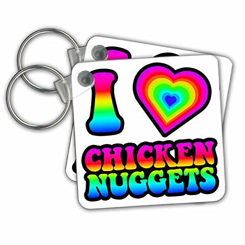 Dooni Designs - Groovy I Heart Love Designs - Groovy Hippie Rainbow I Heart Love Chicken Nuggets - Key Chains - set of 2 Key Chains (kc_217381_1) - Nugget Chain