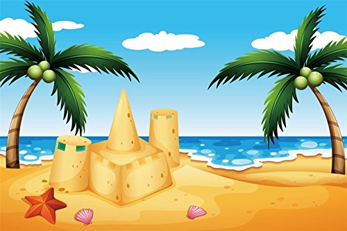 Seaside Castle - LFEEY 5x3ft Cartoon Seaside Beach Backdrop for Photography Sand Castle Coconut Tree Photo Background Kids Children Birthday Party Decoration Wallpaper Photo Booth