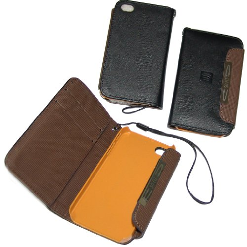 Etui en eco cuir noir protection flip case portefeuille slim pour apple iPhone 4 4S