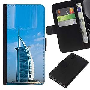 Planetar® Modelo colorido cuero carpeta tirón caso cubierta piel Holster Funda protección Para LG Google NEXUS 5 / E980 / D820 / D821 ( Architecture Burj Dubai Arab Hotel )