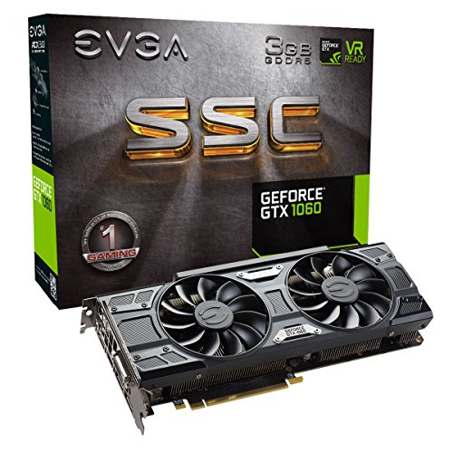 EVGA GeForce GTX 1060 3GB SSC GAMING ACX 3.0, 3GB GDDR5, LED, DX12 OSD Support Graphic Card (03G-P4-6167-KR)