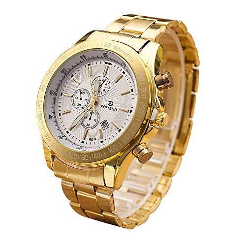 - Men Watch Rose Gold Stainless Steel Chronograph Date Analog Quartz Movement Wrist Watches (A)